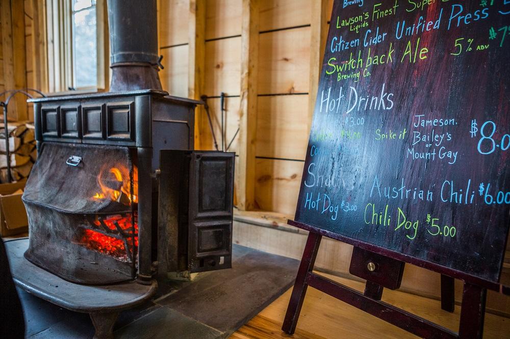 warming hut wood stove